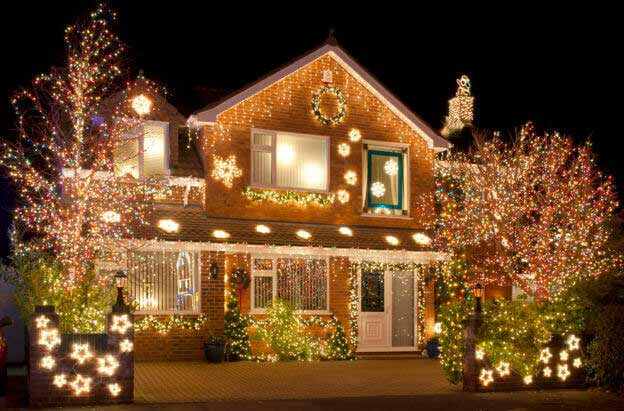 holiday-lights house decked out with christmas lights
